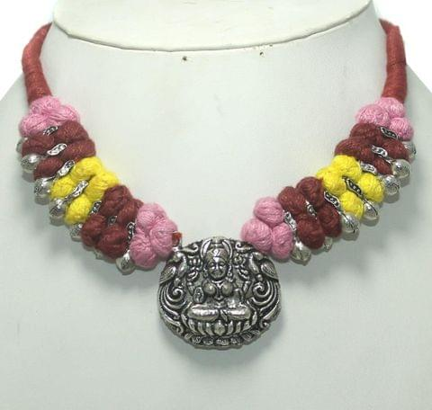 German Silver Necklace Red Pink