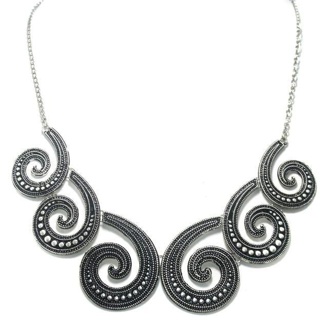 German Silver Designer Necklace Antique Silver