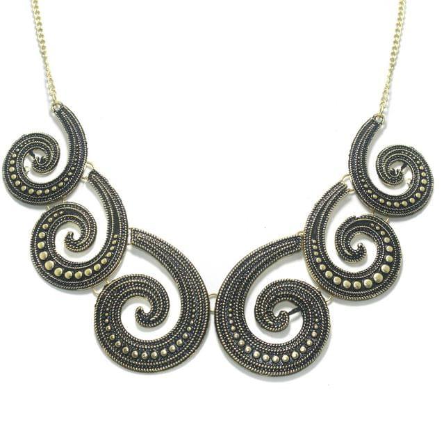 German Silver Designer Necklace Antique Gold