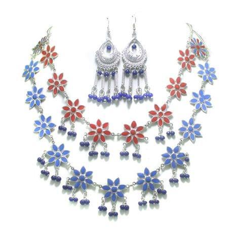 German Silver Multicolor Meenakari Necklace