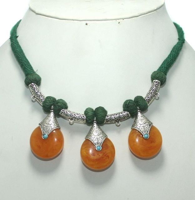 German Silver Necklace Orange And Green