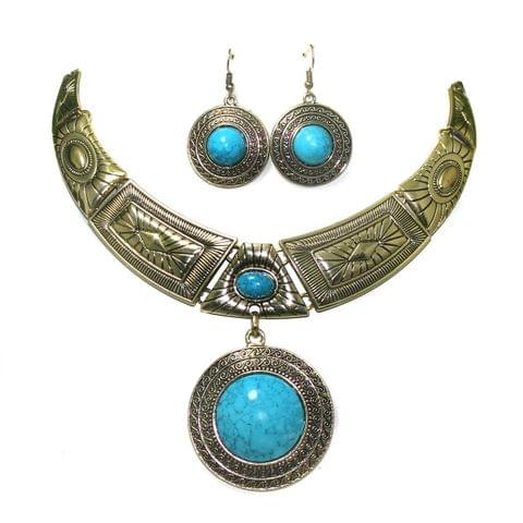 Blue Turquoise Stone Rhodium Plated Statement Necklace