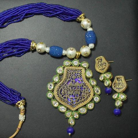 Blue Thewa Kundan Set