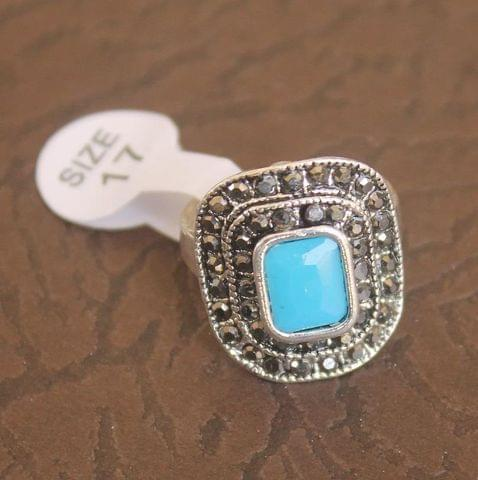 Victorian Finger Ring Turquoise, Size 17
