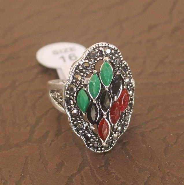 Victorian Finger Ring Multicolor, Size 16