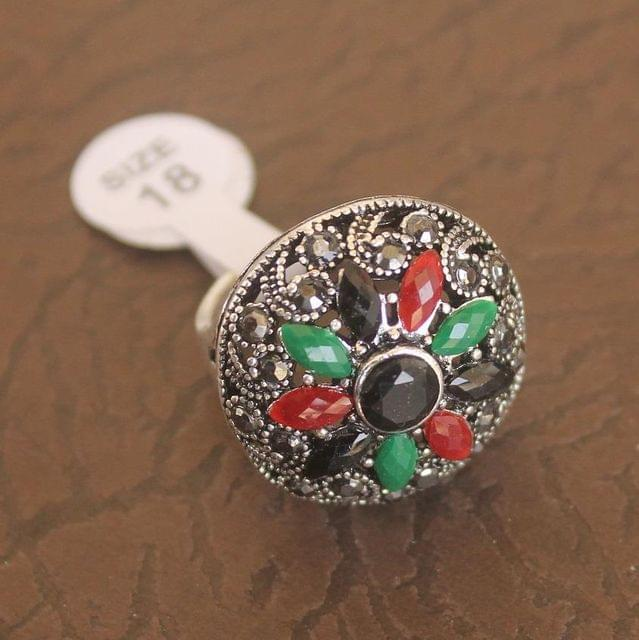 Victorian Finger Ring Multicolor, Size 18