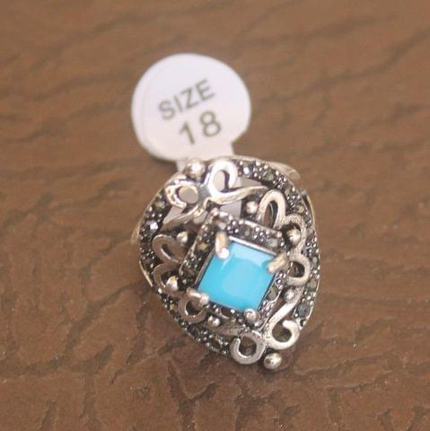 Victorian Finger Ring Turquoise, Size 18