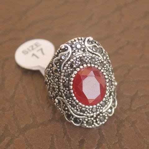 Victorian Finger Ring Red, Size 17
