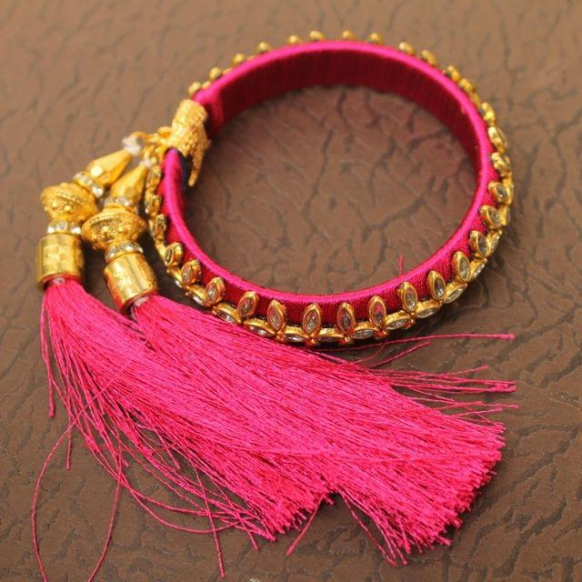 Designer Kundan Silk thread Adjustable Bracelet With Latkan Magenta