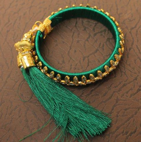 Designer Kundan Silk thread Adjustable Bracelet With Latkan Green