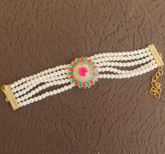 Glass & Kundan Beaded Designer 4 Layer Bracelet