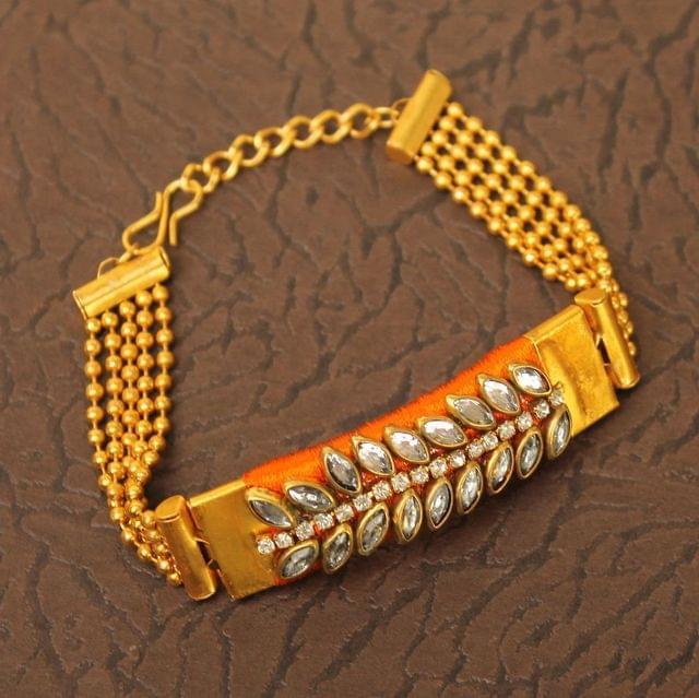 Kundan Silk thread Adjustable Bracelet Orange