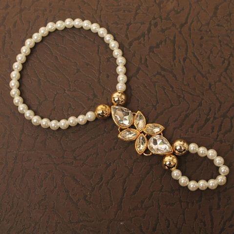 Kundan Pearl Beaded Hathphool Bracelet