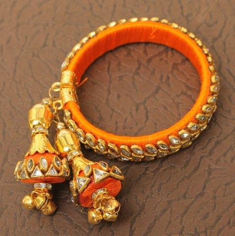 Designer Kundan Silk thread Adjustable Bracelet With Latkan Yellow
