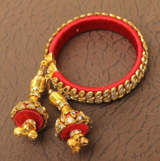 Designer Kundan Silk thread Adjustable Bracelet With Latkan Red