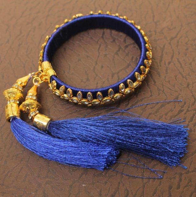 Designer Kundan Silk thread Adjustable Bracelet With Latkan Blue