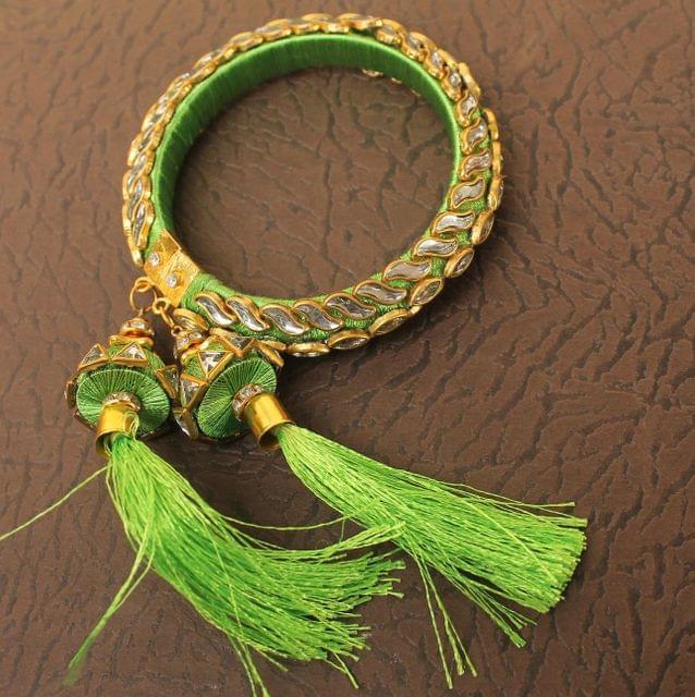 Designer Kundan Silk thread Adjustable Bracelet With Latkan Peridot