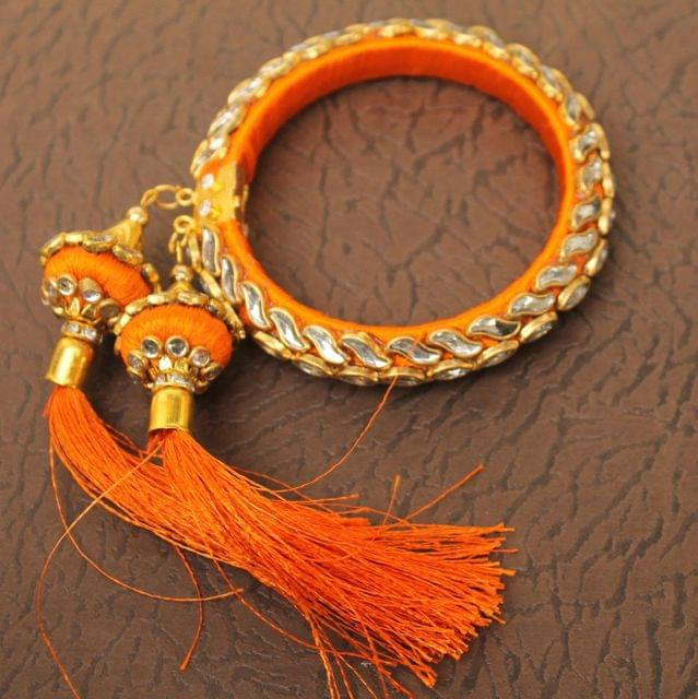 Designer Kundan Silk thread Adjustable Bracelet With Latkan Orange