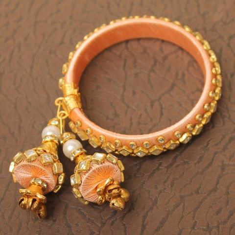Designer Kundan Silk thread Adjustable Bracelet With Latkan Peach