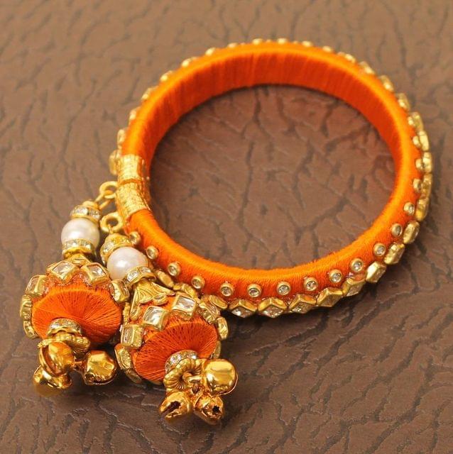 Designer Kundan Silk thread Adjustable Bracelet With Latkan Yellow