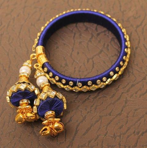 Designer Kundan Silk thread Adjustable Bracelet With Latkan Blue