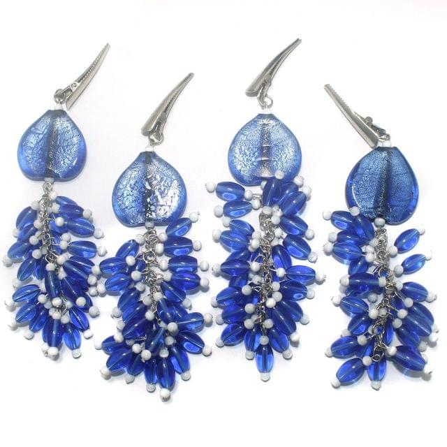 4 Pcs Fancy Blue Glass Beads Table Cover Holder (1 Set)