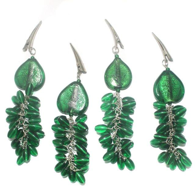 4 Pcs Fancy Green Glass Beads Table Cover Holder (1 Set)