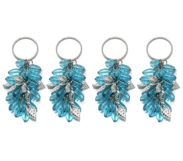 4 Pcs. Glass Beads Key Chains Turquoise