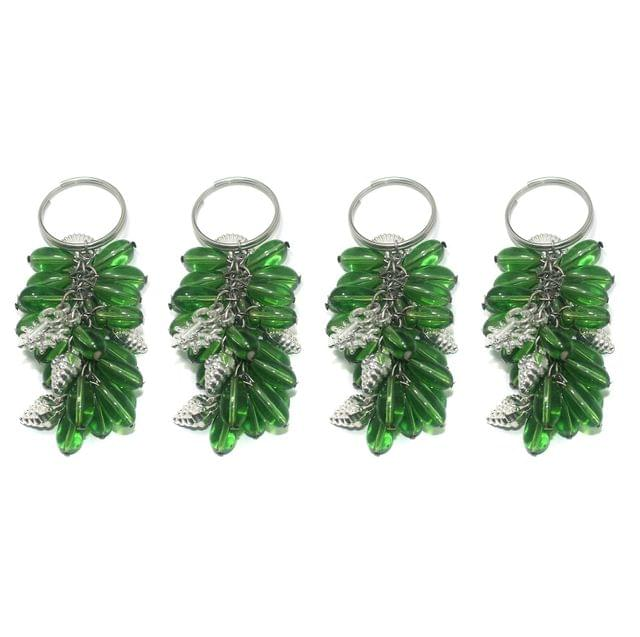 4 Pcs. Glass Beads Key Chains Green