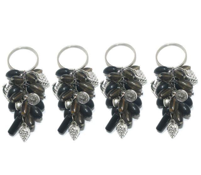 4 Pcs. Glass Beads Key Chains Black