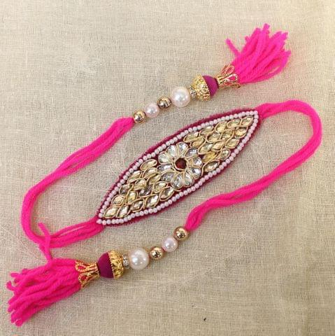 Thread Kundan Beaded Bajuband Magenta
