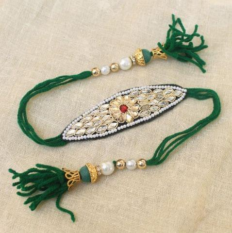 Thread Kundan Beaded Bajuband Green