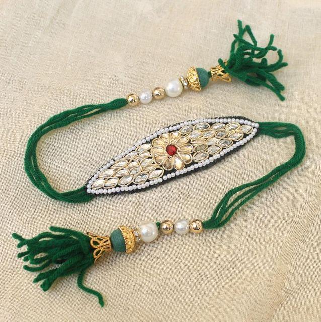 Thread Kundan Beaded Bajuband Green
