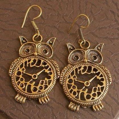 German Silver Owl Earring Gold