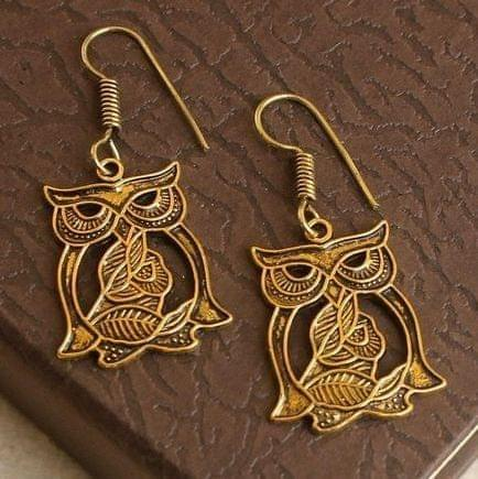 German Silver Owl Earring Gold