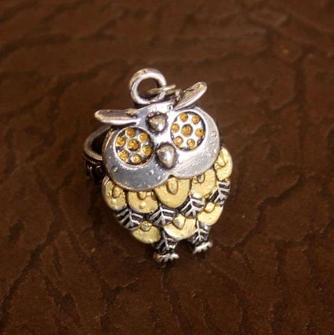 German Silver Dual Tone Owl Adjustable Ring