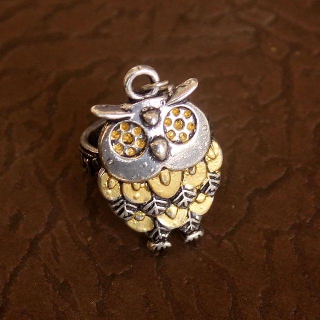 German Silver Dual Tone Owl Adjustable Ring