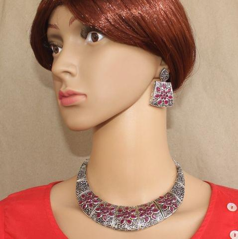 German Silver Stone Choker Necklace with Earring