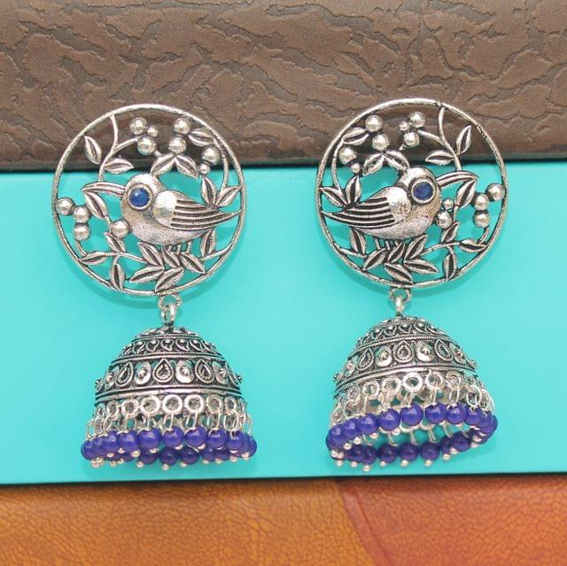 German Silver Jhumka Earring Blue