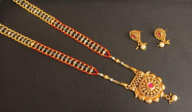 Beaded Mangalsutra With Earrings