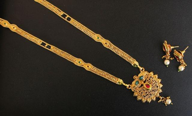 Gold Plated Mangalsutra With Earrings