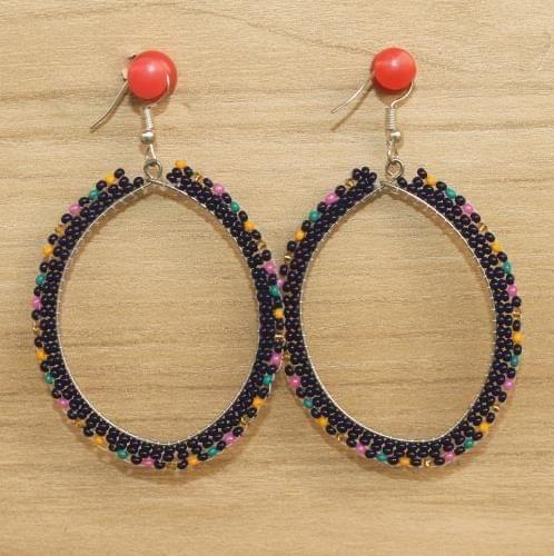 Designer Beaded Frame Earring