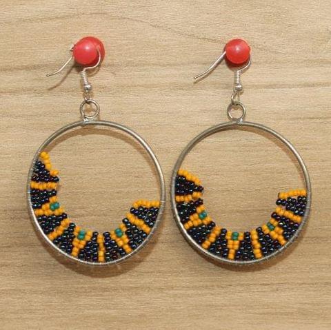 Designer Beaded Frame Earring