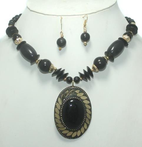 TIbetan Necklace Set Black