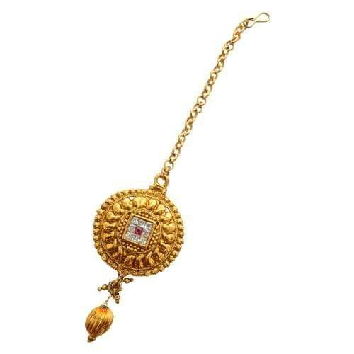 Foppish Mart Stunning Golden Circular Maang Tikka For Women