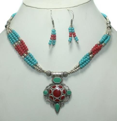 TIbetan Necklace Set Multi color
