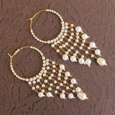 Designer Beaded Pearl Hoop Earring