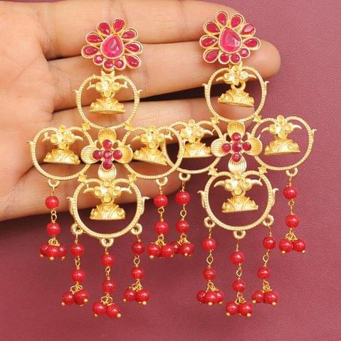 Matte Finish Stone Ethnic Earrings Red