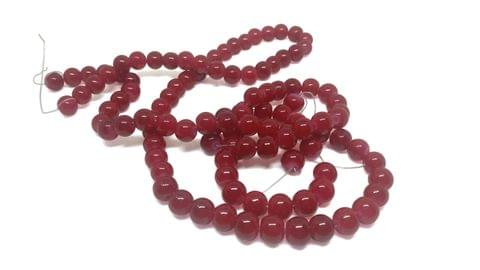 Aumni Crafts Opaque Shaded Glass Beads For Jewellery Making 32Inch 8mm Round (Pack of 2 strings, 100+ beads/string)