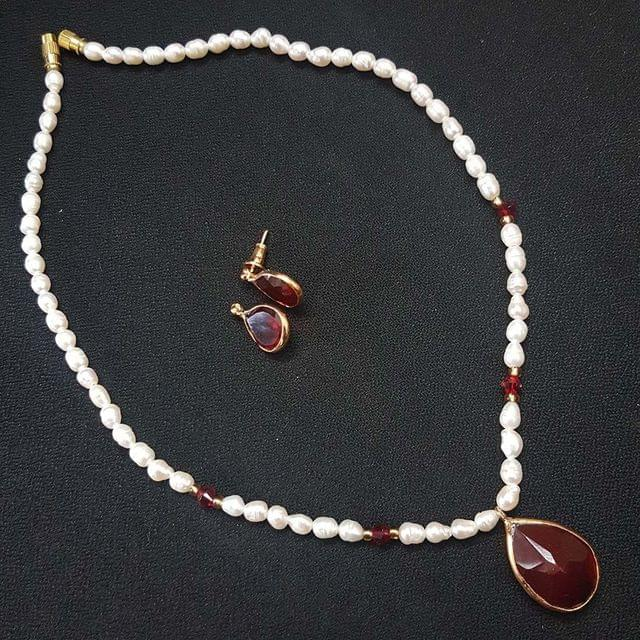 Red Drop Style Beaded Necklace With Earrings For Girls / Women